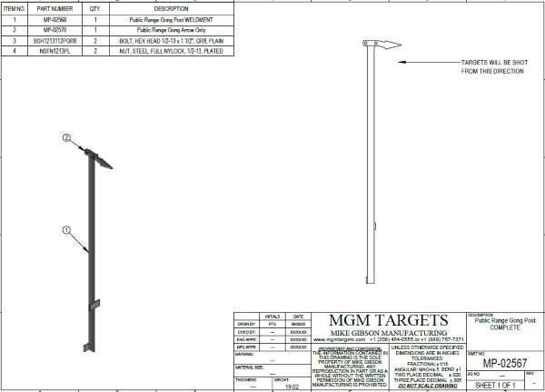 Public Range Target vertical post